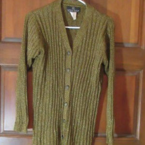 Brown Cardigan Sweater with Gold Threads Small